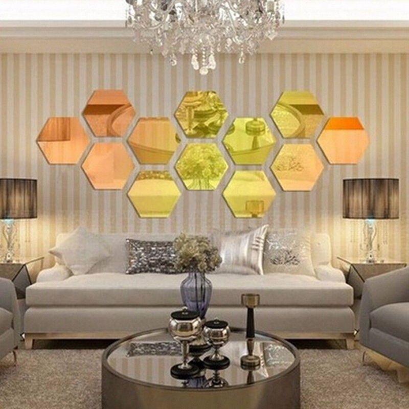 / Set Sticker mural 3D Autocollant mural hexagonal vinyle amovible autocollant mural décalcomanie décoration art bricolage 8cm