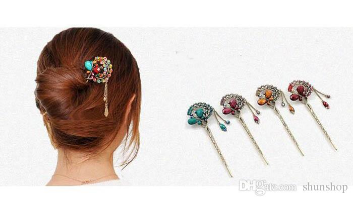 Vintage Antique Bronze Rhinestone Crystal Butterfly Hairpin Chopsticks Hair clips Tassel Hair Sticks for women Hair Accessories