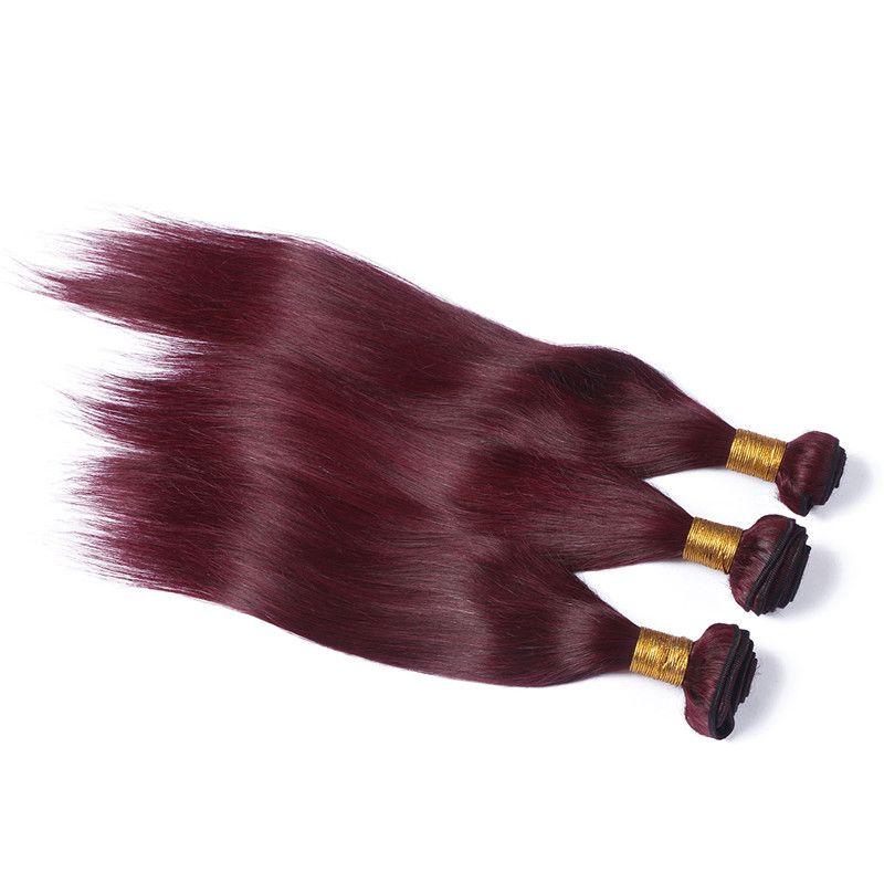 Fasci di capelli umani rosso brasiliano vino con chiusura frontale in pizzo diritto serico # 99J bordeaux orecchio a orecchio 13x4 frontale in pizzo con tesse