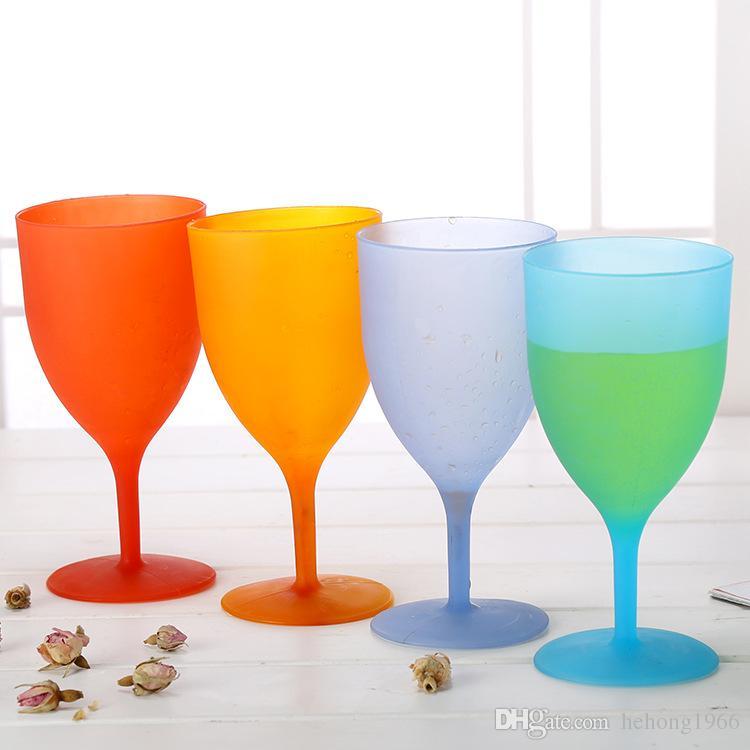Vaso de plástico ambiental no tóxico color caramelo copa de vino tinto transparente y lisa venta caliente 1 18tj B R