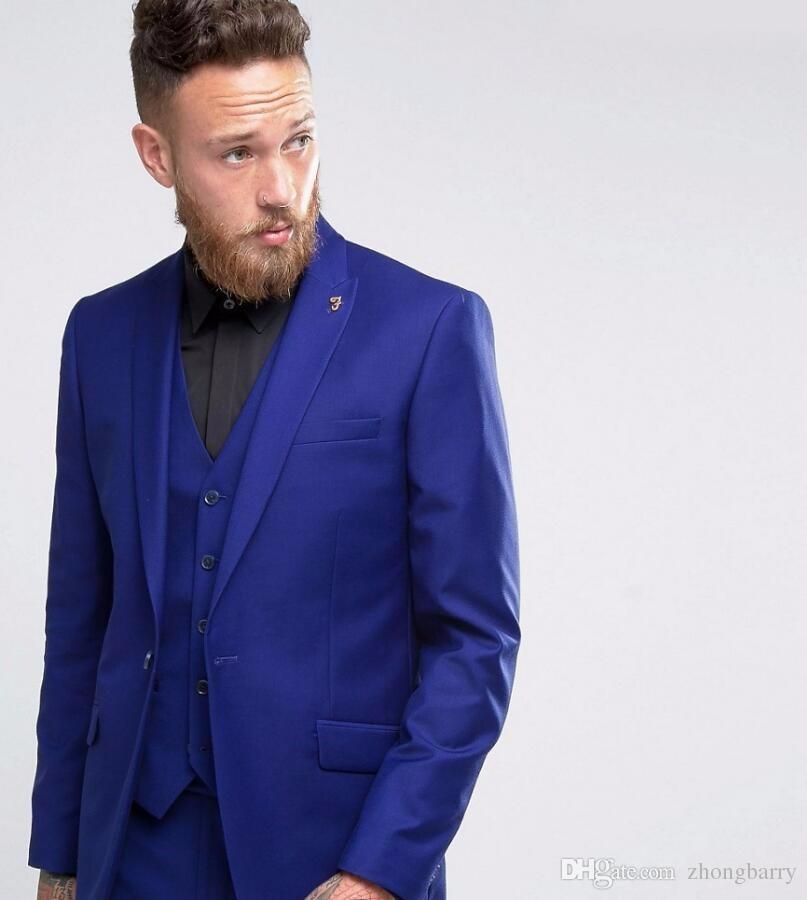 Custom Made Men Suit Royal Blue Wedding Prom Suits For Men Best Man ...