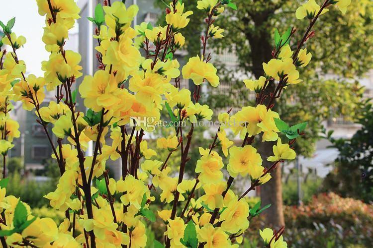 / Artificielle Pêche Cherry Blossom 65 cm Soie Faux Fleurs Accueil Mariage et fête Décoration flores artificiales