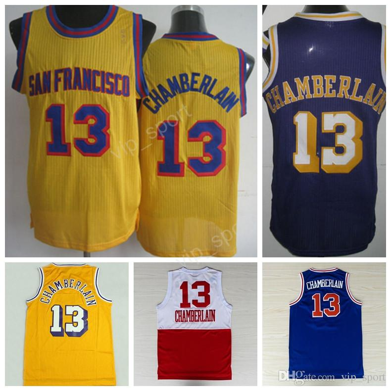 2017 Hottest 13 Wilt Chamberlain Jersey Men Basketball Vintage Chamberlain  Thorwback Jerseys Stitched Yellow Blue Purple ... f83204b6a