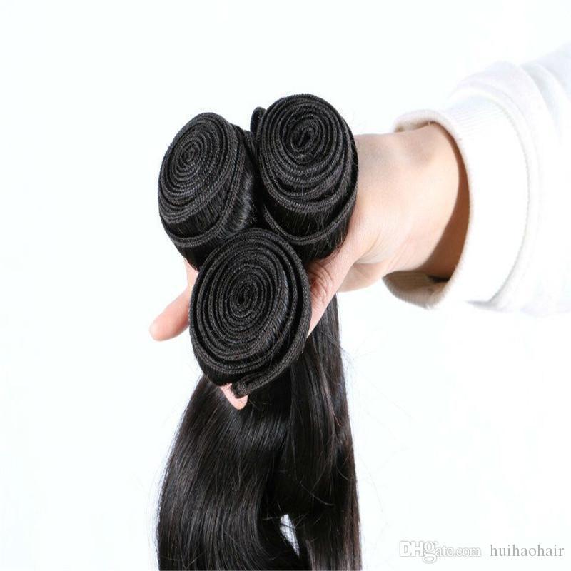Pelo peruano de la onda del cuerpo con el cierre paquetes del pelo humano con el cierre, pelo ondulado peruano con el cierre total /