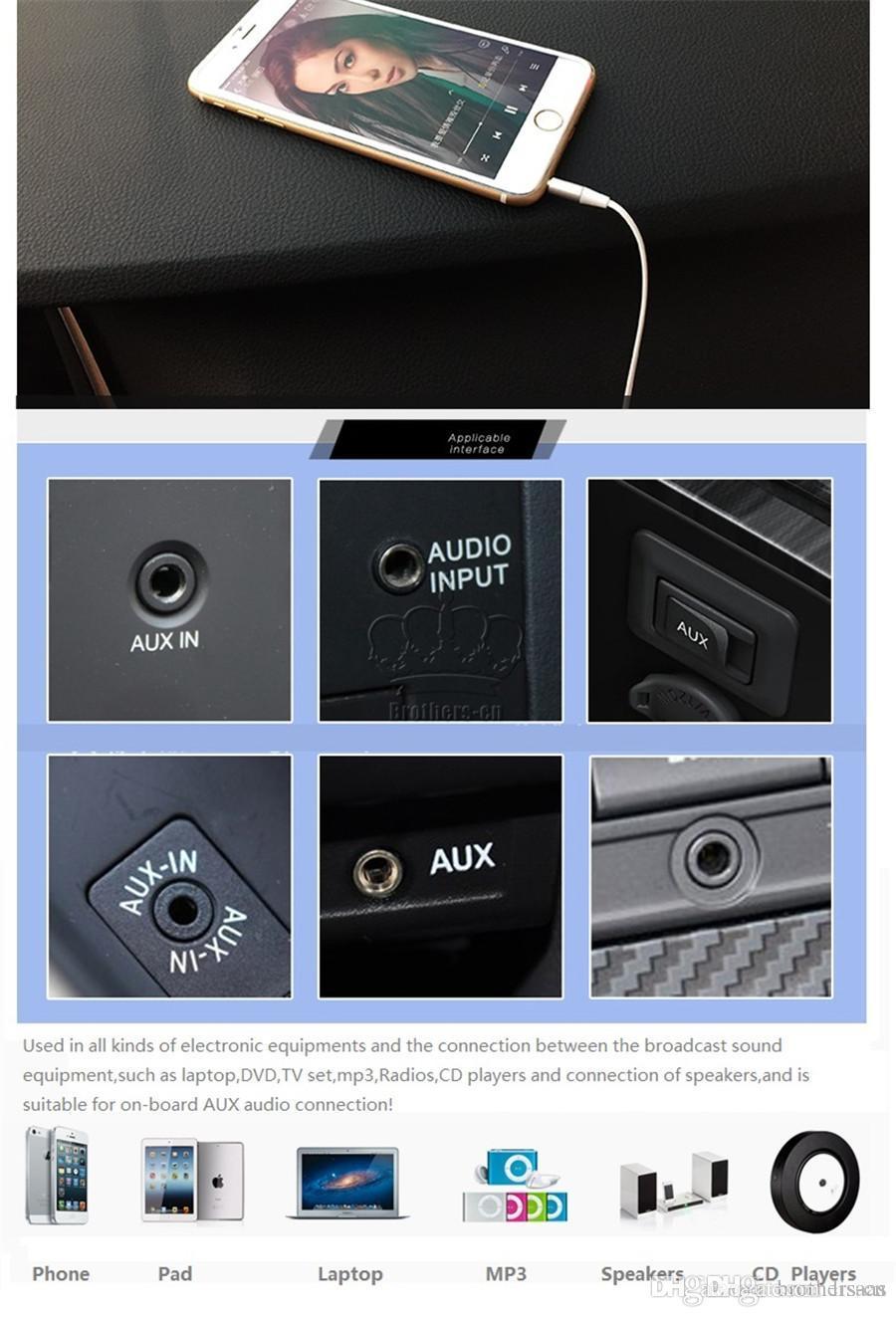 5FT 1.5M 3.5mm 자동차 오디오 AUX 연장 케이블 꼰 와이어 짠 보조 스테레오 잭 남성 리드 7 6 6plus 안드로이드 모바일 스피커