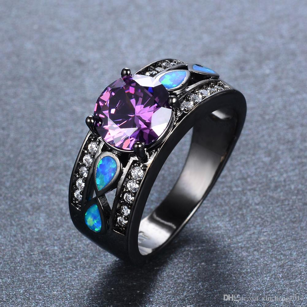 Black And Purple Rings For Women Wiring Diagrams 100electricalcircuitdetaillabelsfuseboardconsumerunitstickers 2018 Men Gold Ring Bohemian Round Water Drop Rh Dhgate Com Unique Engagement