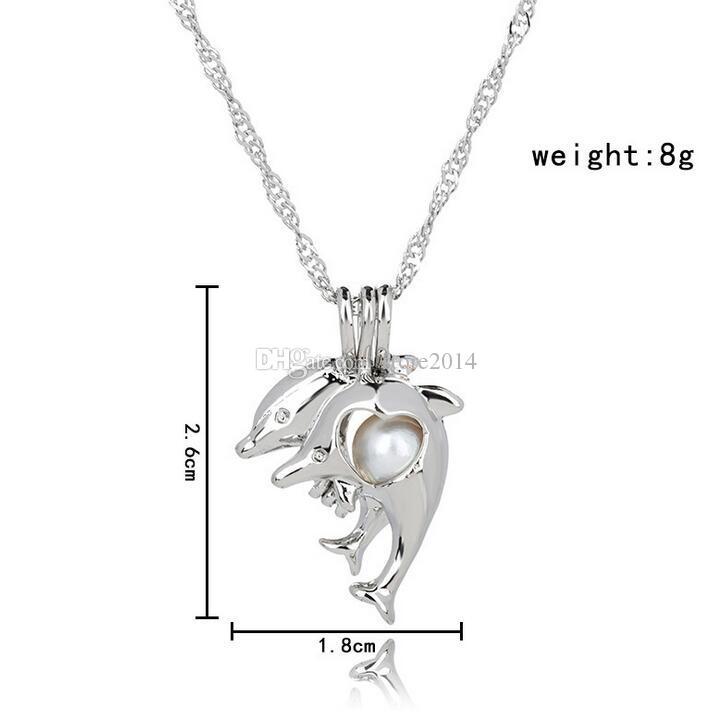Ame desejo pérola gaiola conjuntos de jóias medalhão oco golfinho pérolas de água doce pingente de ostra pulseira colar brincos excluindo pérola em lata