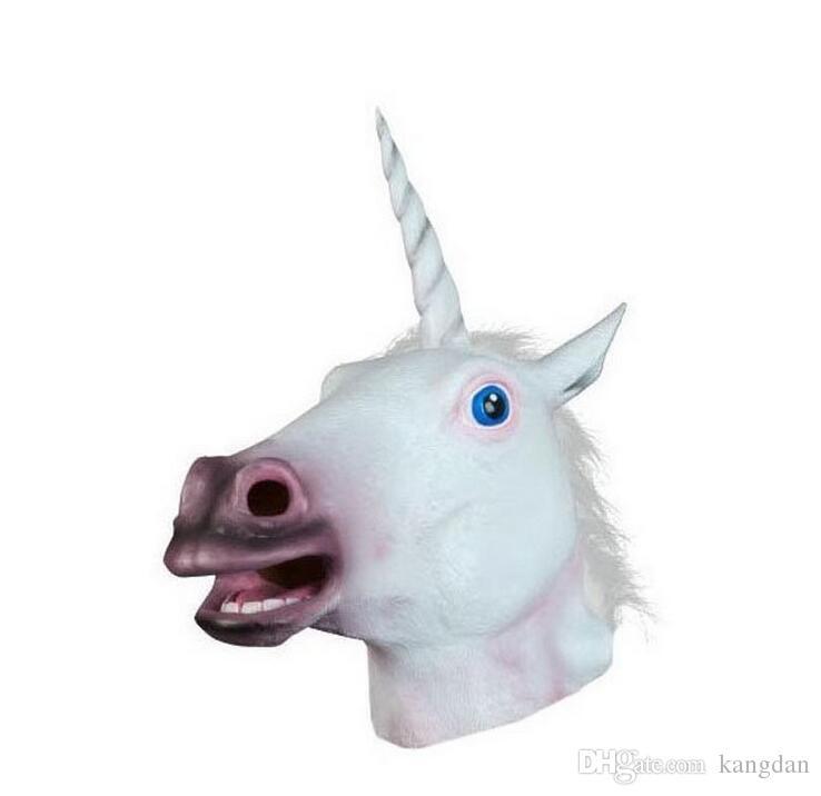 Magical Unicorn Mask Horse Mask Deluxe Latex Animal Mask Party Cospaly Halloween Costume Maschere Theater Prop Novità maschere cornute degli animali