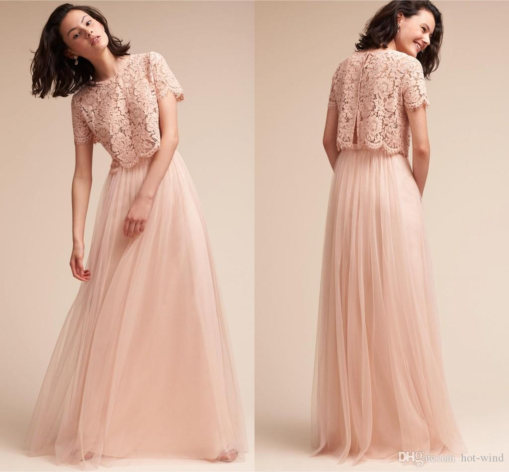 Blush pink two piece bridesmaid dresses 2017 lace top for Wedding guest dress blush pink