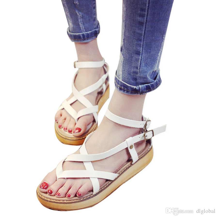 809179bd6 Fashion Women Summer Flat Sandals Clip Toe Cross Straps Rome Thick ...