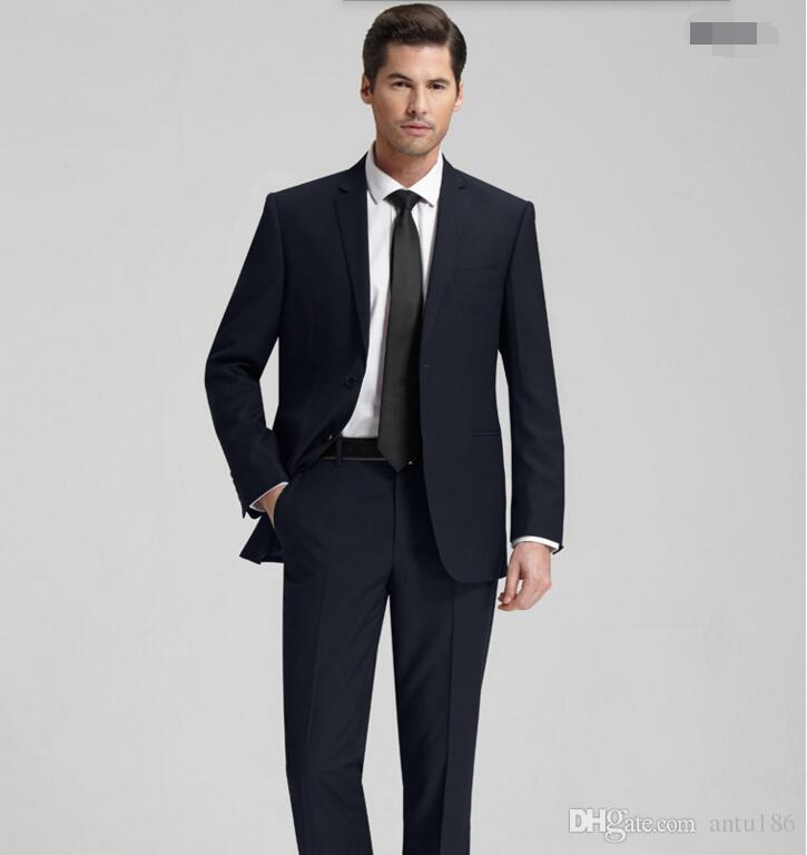 Özel yapılmış erkekler takım elbise moda erkekler düğün smokin siyah yaka damat takım elbise sağdıç smokin suit ceket + pantolon