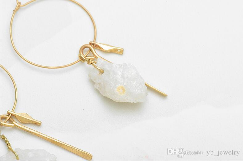 Creative New Europe & USA High-grade Big Ear Ring Earrings Natural Stone Pendant Hoop Earrings Factory Price Top Quality