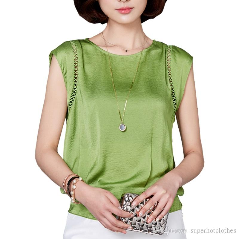 ba4b22972ab 2019 Plus Size Office Women Shirts Blouses White Green Red Elegant Ladies  Chiffon Blouse Short Sleeve Womens Tops Chemise Femme From Superhotclothes