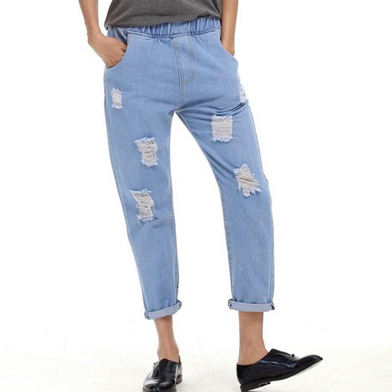 a9af73308c 2019 Elastic High Waist Ripped Jeans For Women 2017 Spring Oversized  Vaqueros Mujer With Pockets Pantalones Vintage Trousers S~5XL From  Fincek007