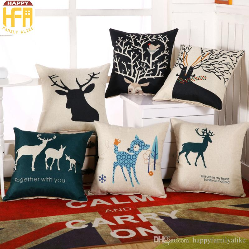 45*45cm Cushion Case Linen Pillow Cover Woven Cushion Pillow Covers Living  Room Decoration Moose Pattern Pillowcase Perfect For Gifts Wicker Seat  Cushions ... Part 88