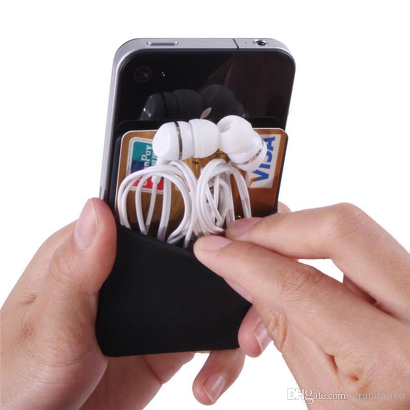Universal cartão de crédito adesivo Auto Ultra-Slim Carteira Cartão Set Titular colorido Silicone Celular iPhone Capa Para 12 Pro Max 11 XS XR X