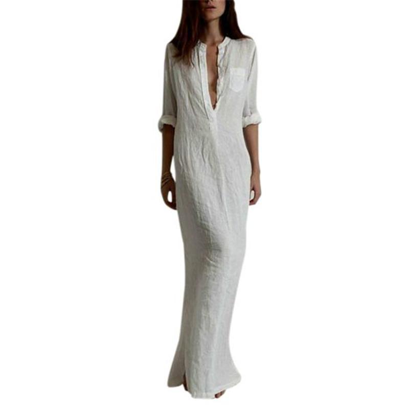 e3aad22509 Wholesale- Summer Beach Dresses Women Sexy Long Maxi BOHO Deep V-Neck Dress  Cotton Linen Sundress Dress Stain Dress Finger Dress Party Dress Online  with ...