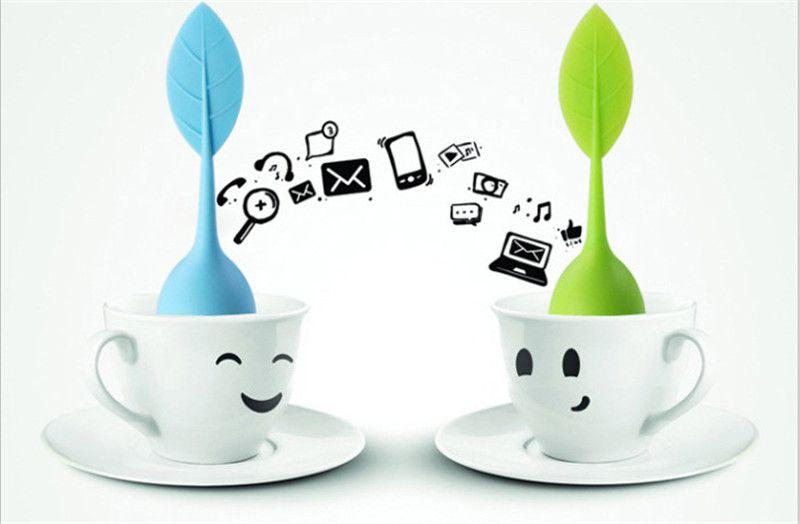8 Farben Neue Silikon Edelstahl Nettes Blatt Teesieb Kräutergewürz Tee-ei Filter leckage