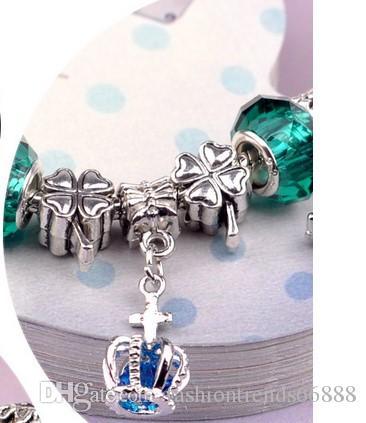 Fashion 925 Sterling Silver Green Crystal Murano Lampwork Glass & Crystal European Charm Beads Fits Pandora Charm bracelets Style Bracelets8