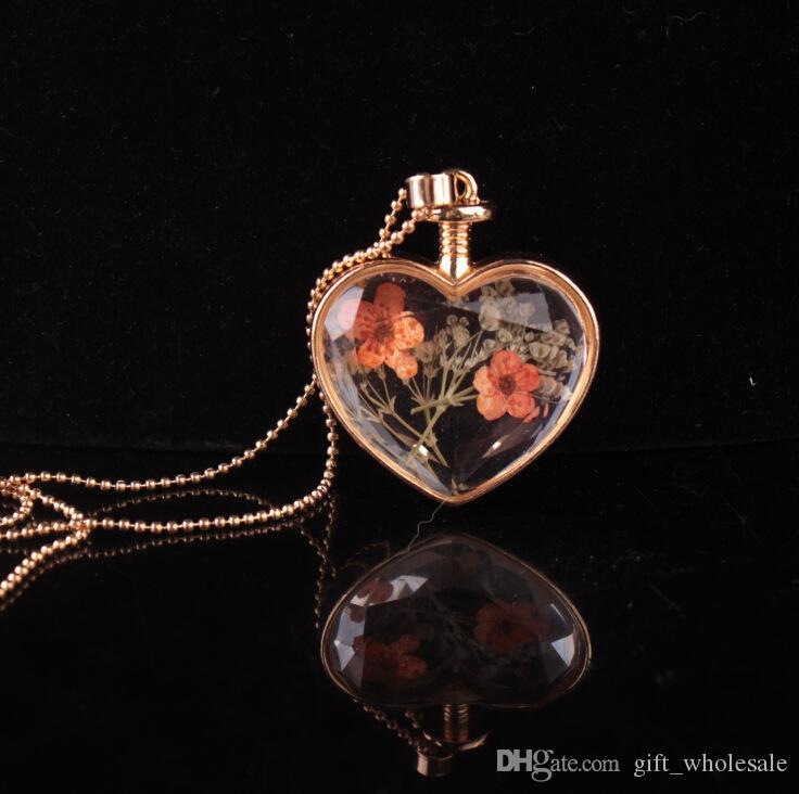 murano heart shape lampwork glass pendants aromatherapy pendant necklaces jewelry dry flowers perfume vial bottle pendants necklace