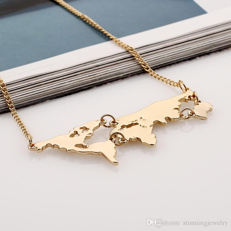 Hot Sale World Map Necklace Earth Day Gift Globe Chain World Earth Jewelry Punk Style Gold Plated Women Men Mother Earth Wanderlust Pendant