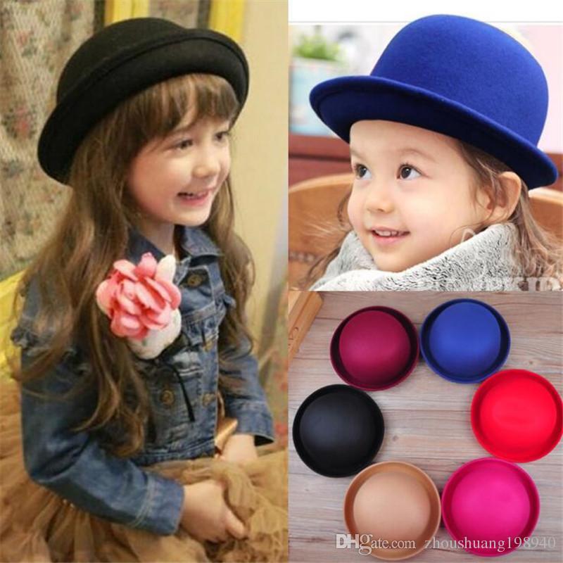 Retail Little Girls Fedora Hat Dome Cap Children Dress Hats Kids Caps Felt  Hats Wool Felting Bowler Hat UK 2019 From Zhoushuang198940 1aa0cb4745b