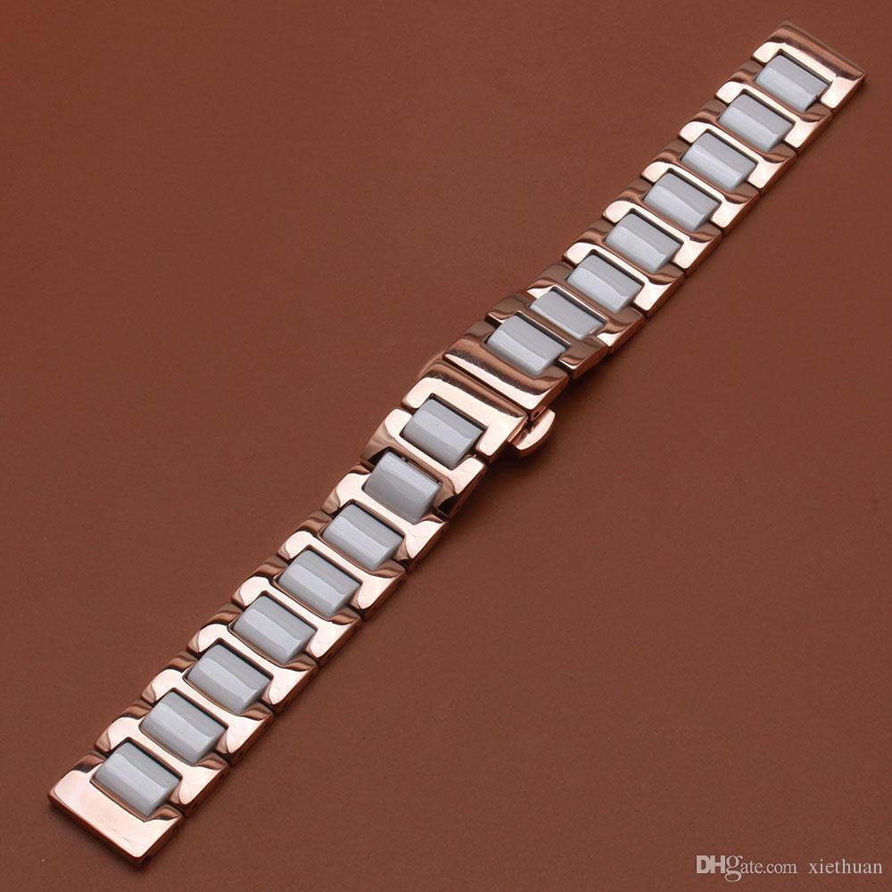 Bracciale in acciaio inossidabile Rosegold cinturino cinturino in ceramica bianca 14 16 18 20 22mm orologi da polso da donna di moda sostituire