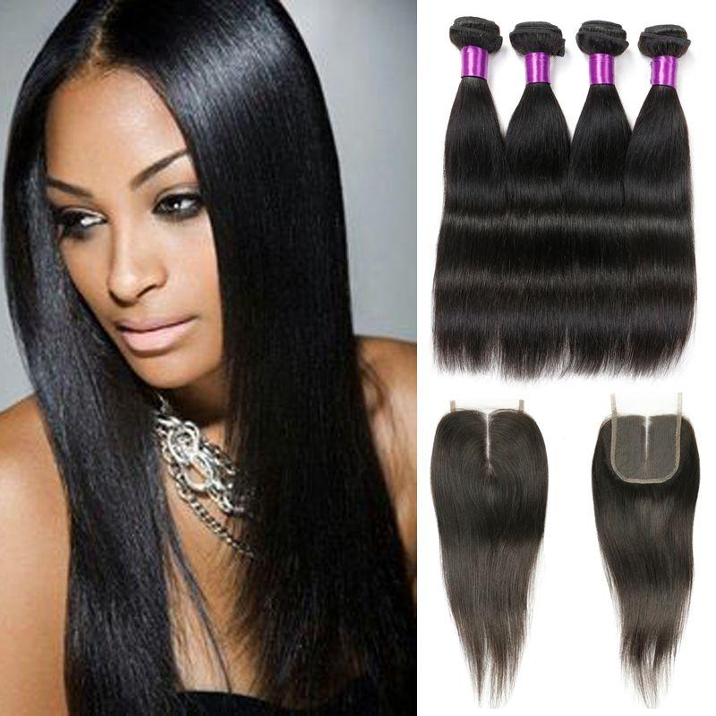 Brazilian Straight Hair With Closure Grade 8a Virgin Hair Cheap