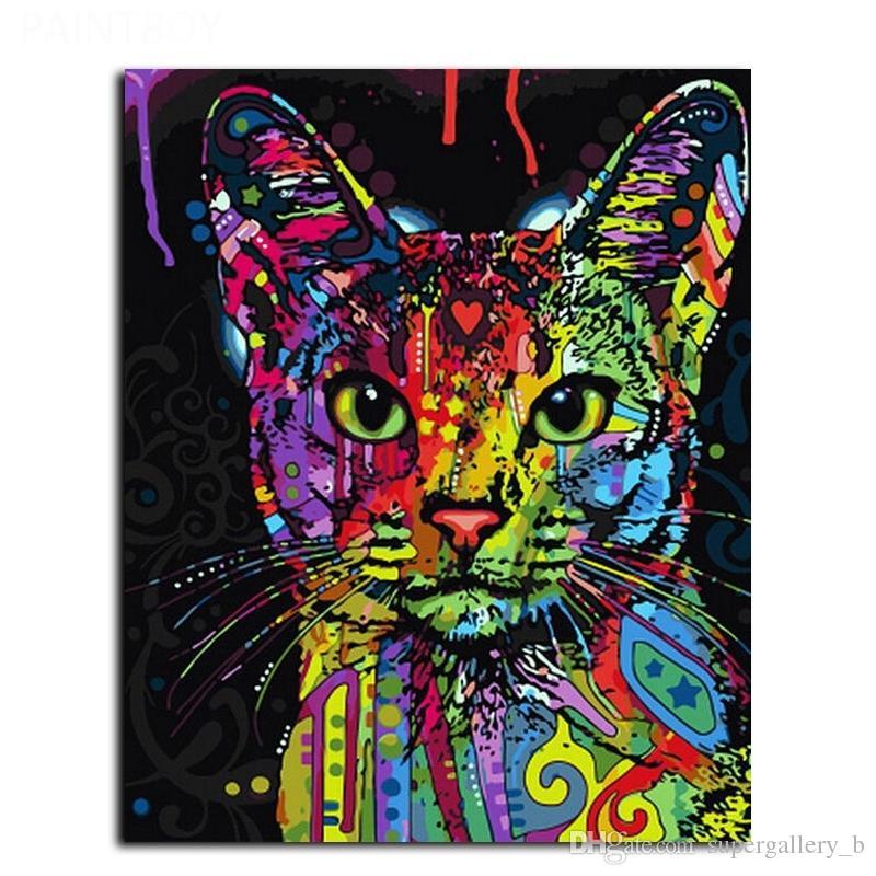 Compre Enmarcado Animal Abstracto Del Gato Que Pinta El Arte Moderno ...