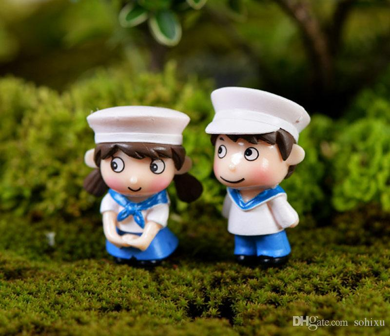 Navy couple fairy garden miniatures for terrariums resin figurine ornament miniaturas para mini jardins Potted decor