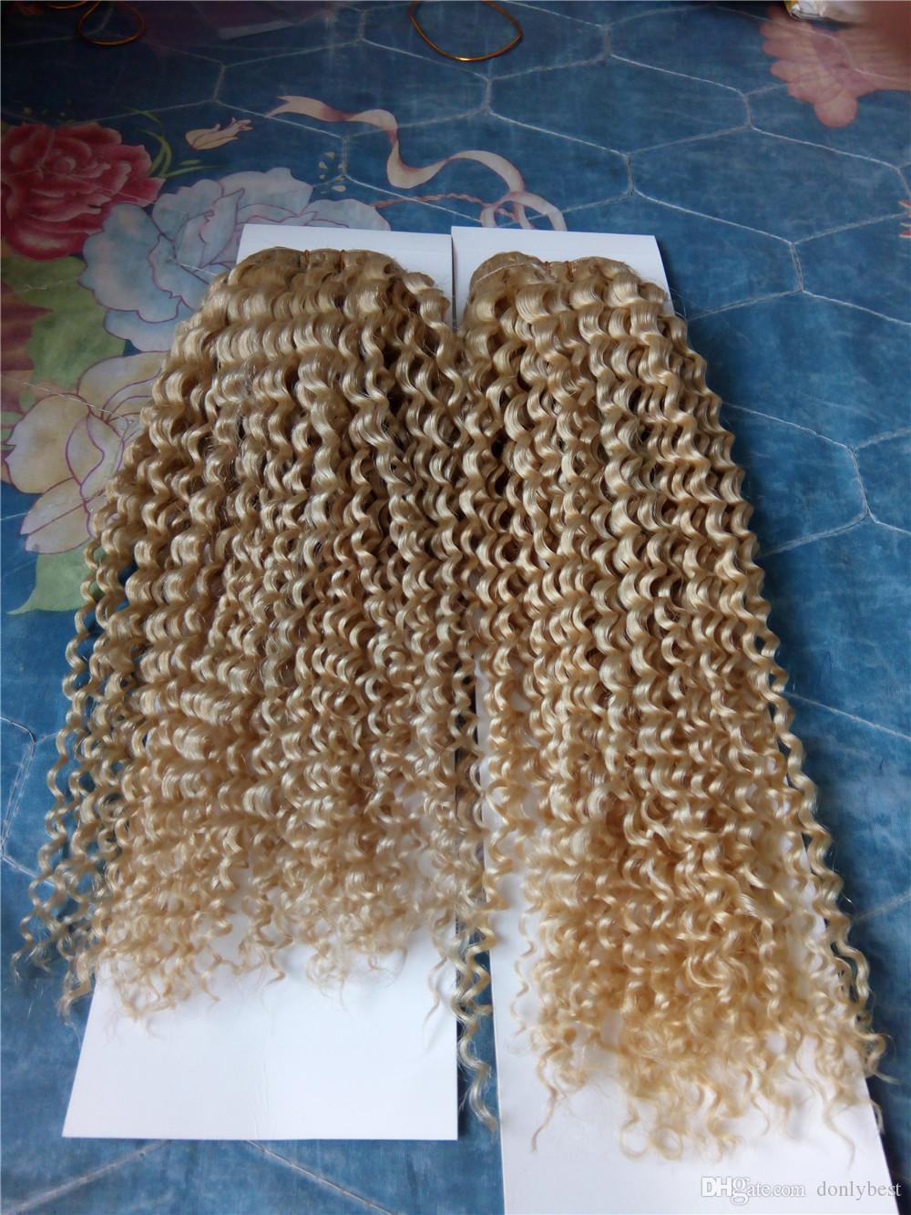El cabello humano rubio teje 12-28 pulgadas # 613 Extensiones de cabello rizado brasileño de onda profunda peruana 7A Grado Trama de cabello de alta calidad