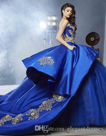 masquerade wedding dresses. luxury detail gold embroidery ball gown wedding dresses with peplum 2017 masquerade royal blue sweety 16 girls bridal gownn short formal d