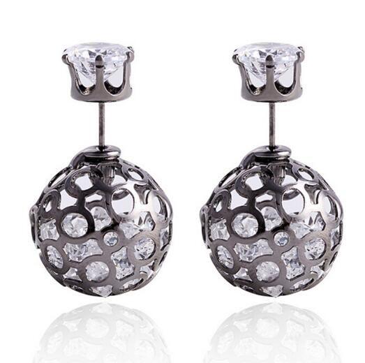Brand New Korea Pearl Earrings CZ Zircon Studs Crystal Ball Earrings Hallow Ball Cubic Zirconia Earrings Jewelry Christmas Gift