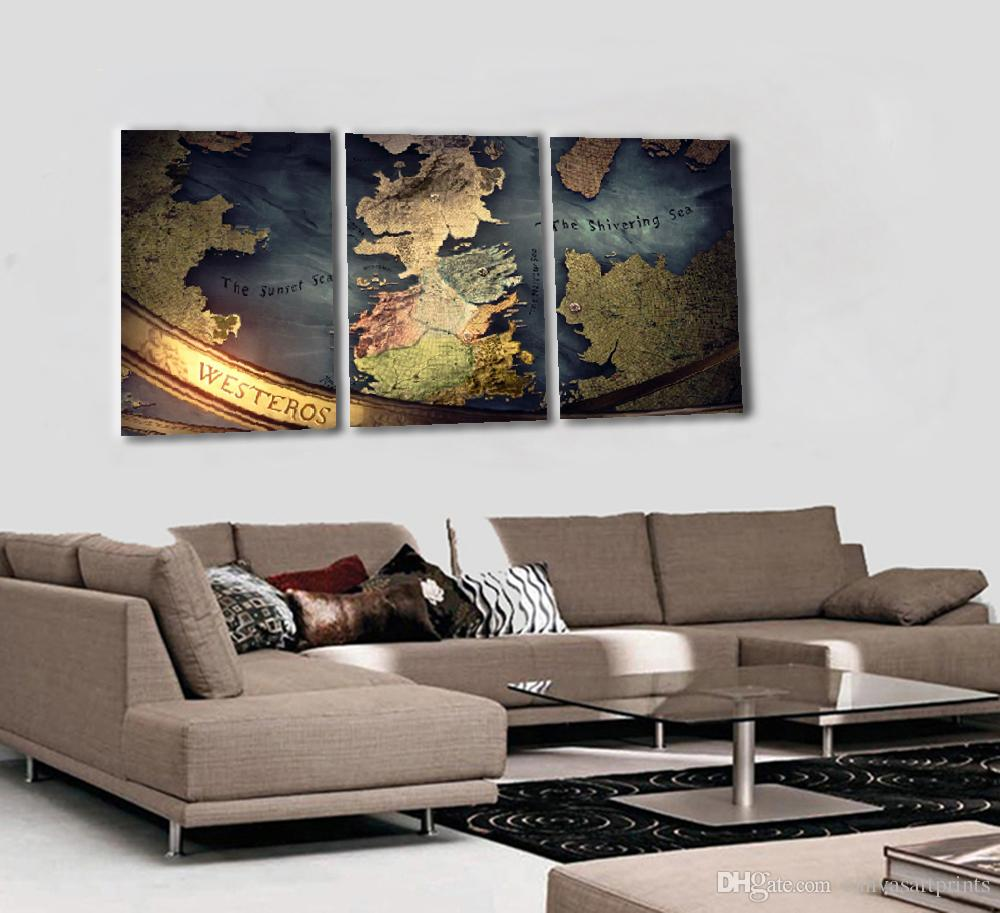 2017 No Framed Modern 3 Panel Wall Art Prints Painting Home Decor Canvas  Pictures Westeros Map For Study Room Decoration From Canvasartprints, ...