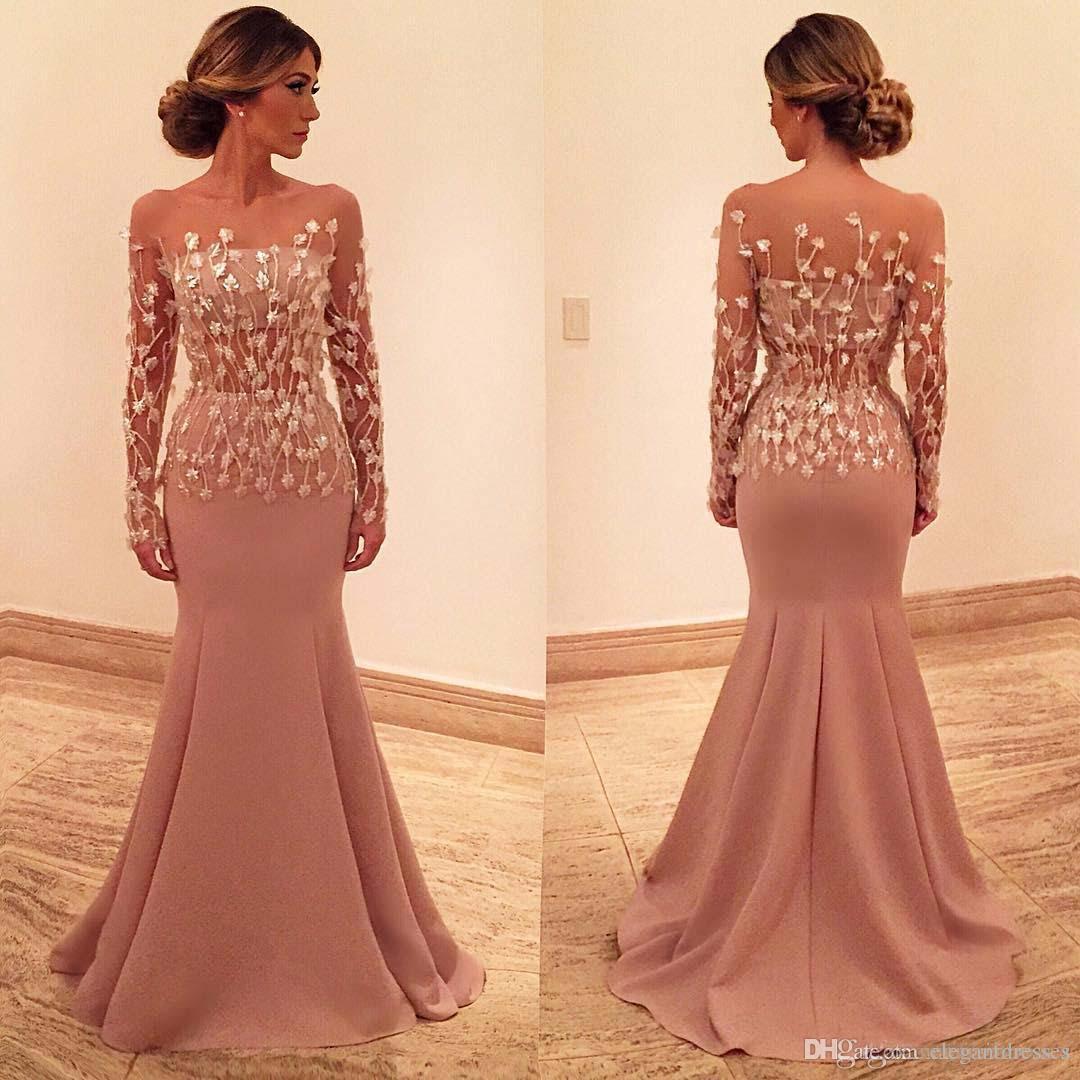 Hübsche 2021 Mermaid Abendkleider Bateau 3D Appliques Lange Ärmel Prom Kleid Bodenlangen Tüll Formale Abendkleider