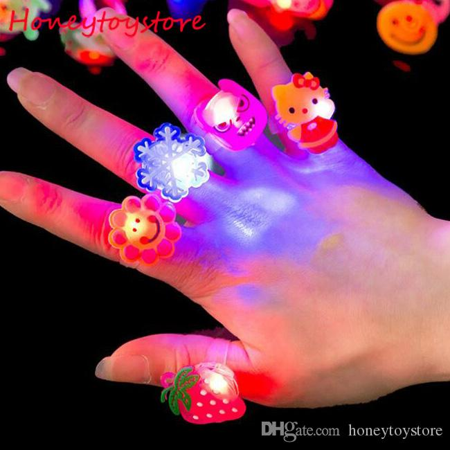 Hot Kids Cartoon LED Flashing Light Up Glowing Finger Rings Electronic Birthday Party Toys Gifts for Children