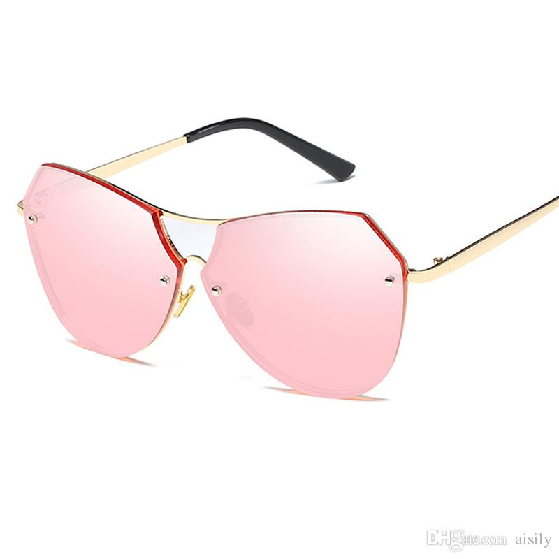 f0462029a Lady Twin Beams Oval Pilot Sunglasses Women Brand Designer Sun Glasses Men  Female Vintage Fashion Metal Frame Mirror Shades UV400 L69 Cheap  Prescription ...