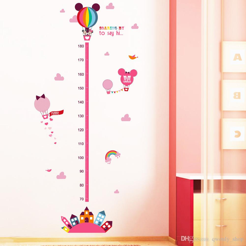 7Styles Growth Chart Height Measure Chart Wall Stickers For Kids Room Decor Cartoon Mural Art Home Decals Children Gift