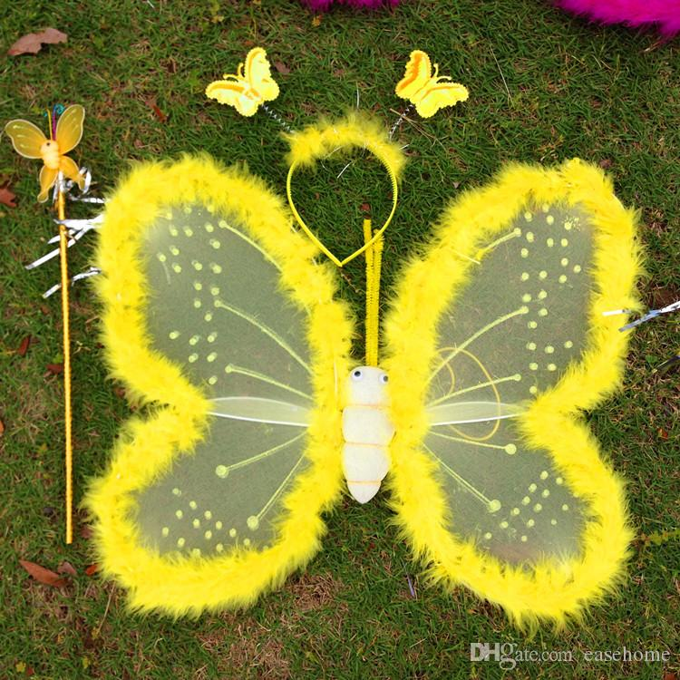 Nouvel ensemble d'ailes de papillon comprenant des plumes de baguette de fée en bandeau en 6 couleurs décorées pour la fête des filles