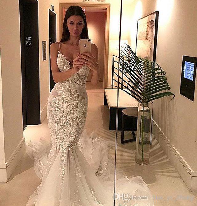 2016 등이없는 웨딩 드레스 인어 스파게티 레이스 Tulle Bridal Gowns 타워 페르시 예배당 열차 신부 가운