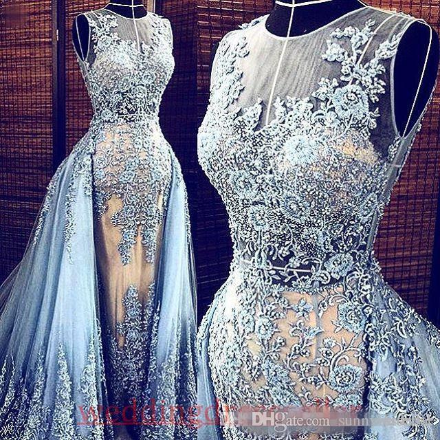 Real Images Hellblau Elie Saab 2017 abendkleider Abnehmbarer Zug Transparente Abendkleider Party Pageant Kleider Promi Prom Long
