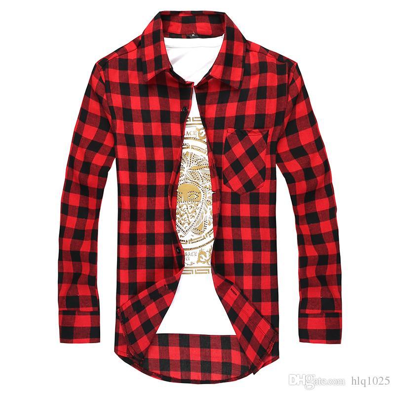 816e3cc806a Fashion Men s Long Sleeved Flannel Casual Plaid Shirt Men Checkered ...