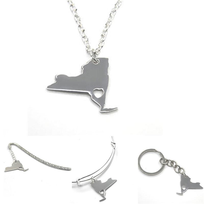 US State map necklace New york silver tone New york necklace bangle keyring bookmark