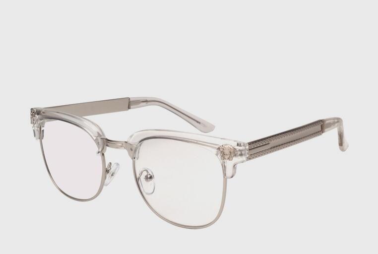 NEW brand black&gold mens semi rimless eyeglasses frames UV metal half frame clear lens glasses optical