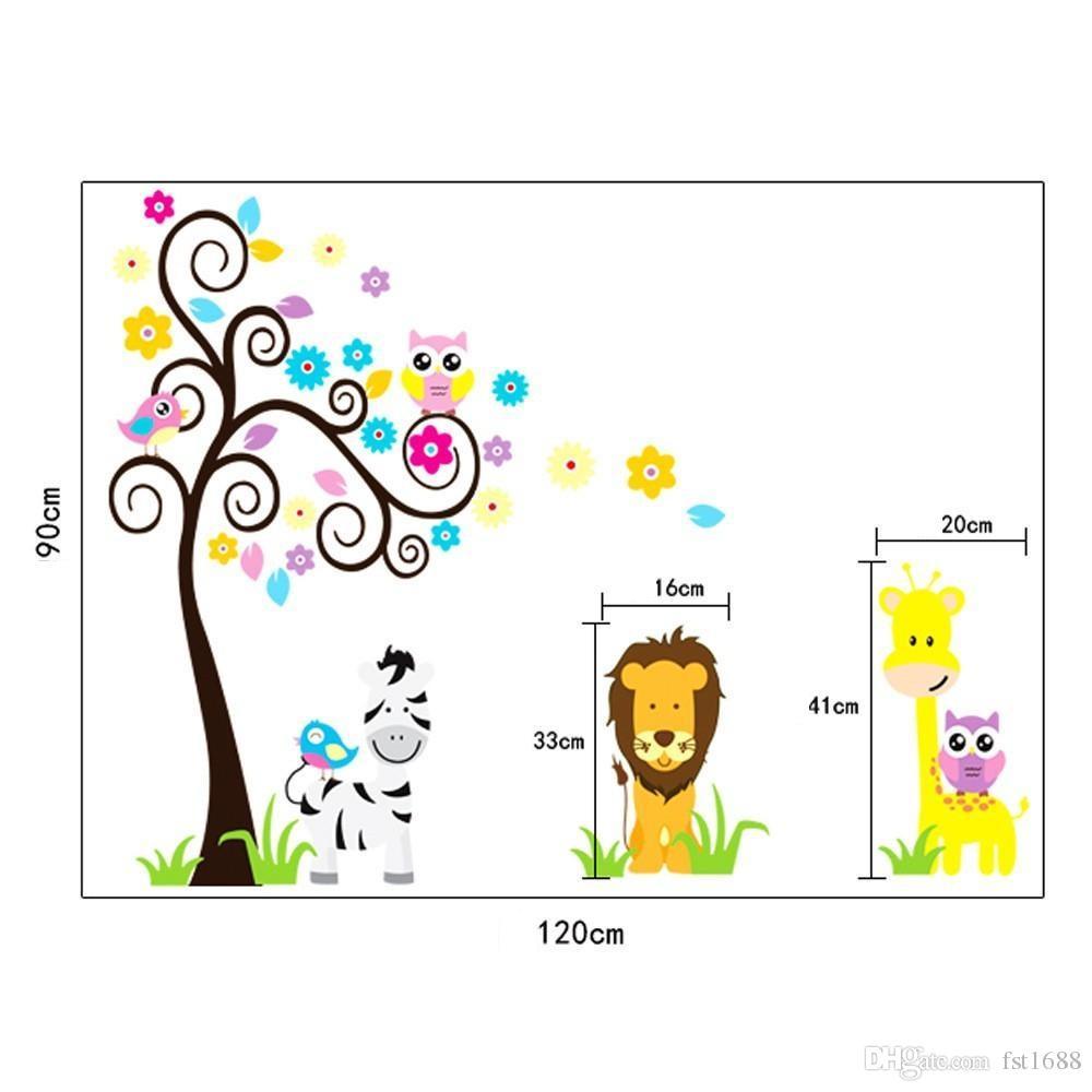5091 Cute Jungle Tiere Wandaufkleber Kinderzimmer Dekoration Home Decals Eulen Giraffe Baum Drucken Wandbild Kunst Cartoon Zoo Poster