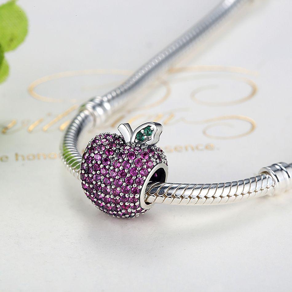 BELAWANG Plata de Ley 925 Pave Apple Fancy Rose CZ Verde Crystal Charm Fit Pandora Pulsera Brazalete DIY Fabricación de Joyas