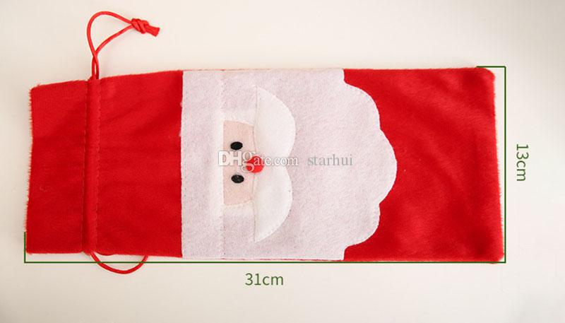 Yeni Noel Baba Hediye Çanta Noel Süslemeleri Kırmızı Şarap Şişesi Kapağı Çanta Xmas Santa Şampanya şarap Çanta Xmas Hediye 31 * 13 CM WX9-41