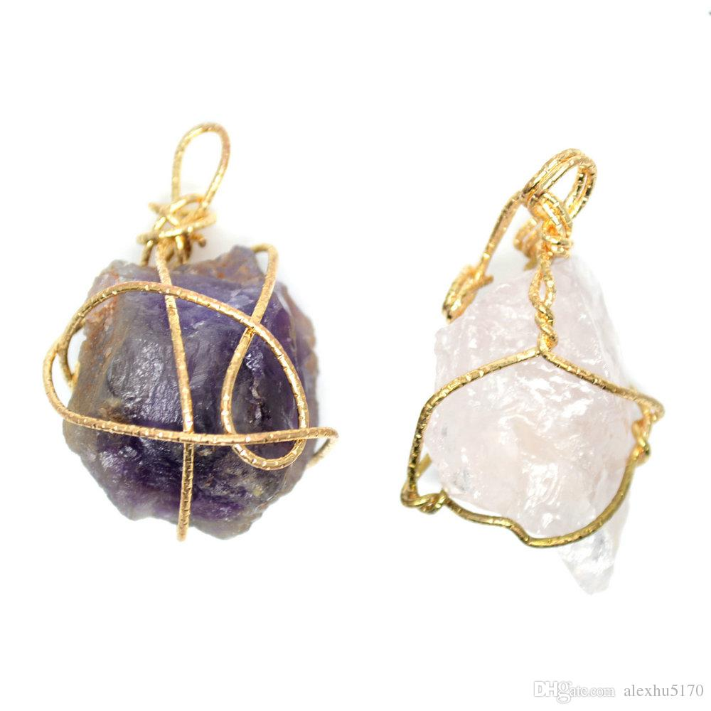 Wholesale new design gold wire twist surround rock crystal purple wholesale new design gold wire twist surround rock crystal purple amethyst pendants winter jewelry sweater chain necklace making diy findings silver heart mozeypictures Image collections