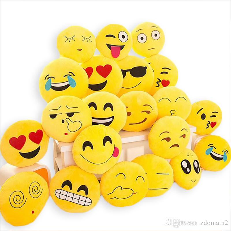 Cute Soft Emoji Cushion Smiley Seat Cushions Pillow Facial Emotions Pillow Round Cushion Stuffed Plush Toy Gift for Kids 33*33cm