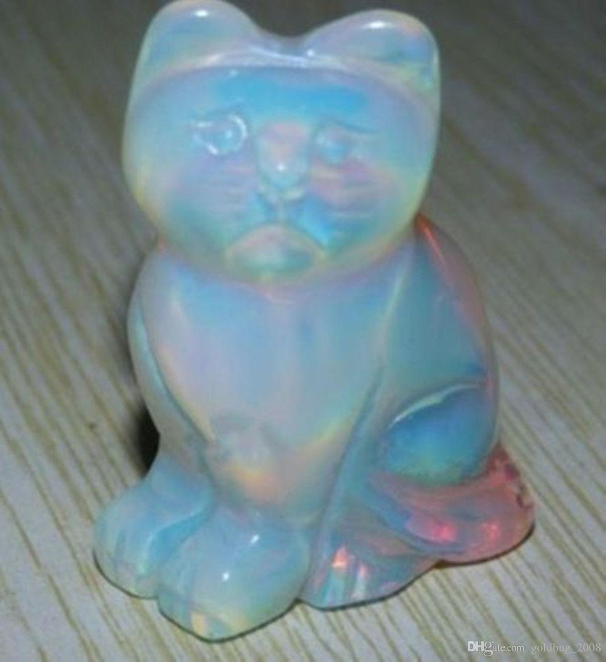 Großhandel billig schöne Sri Lanka Mondstein Hand geschnitzte Katze
